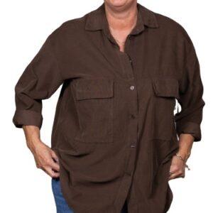 Skjorte,-Fløjl,-X-serie,-Brun-23800-2-N-14583 jannek